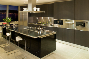 Metal countertops, wall cladding, and back splashes